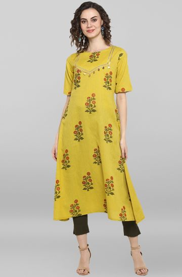 Janasya | Janasya Women's Lemon yellow Cotton Kurta