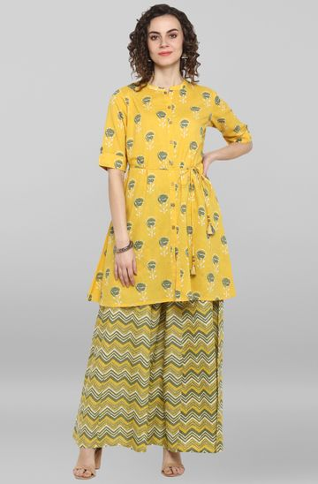 Janasya | Janasya Women's Yellow Cotton Kurti With Palazzo