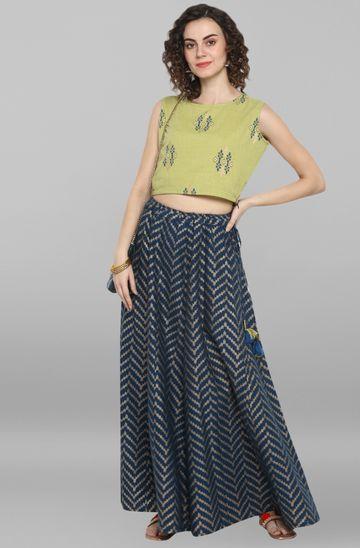 Janasya | Janasya Women's Light Green Cotton Slub Crop Top With Skirt