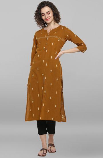 Janasya | Janasya Women's Light Brown Weaved Cotton Kurta