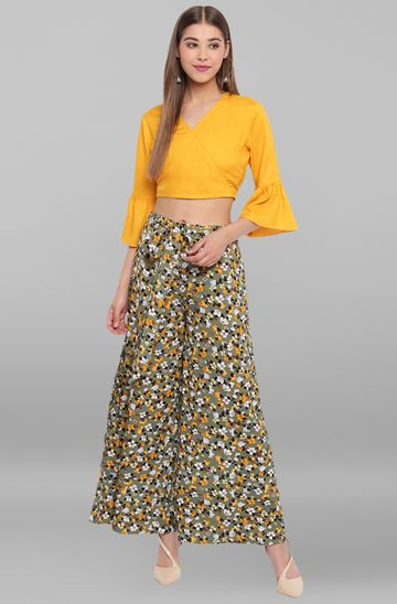Janasya | Janasya Women's Mustard Rayon Crop Top With Palazzo