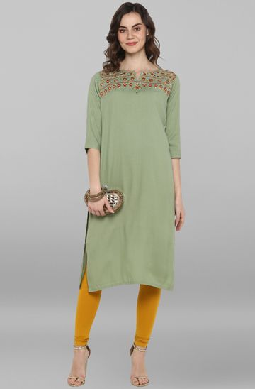 Janasya | Janasya Women's Light Green Rayon Flex Kurta