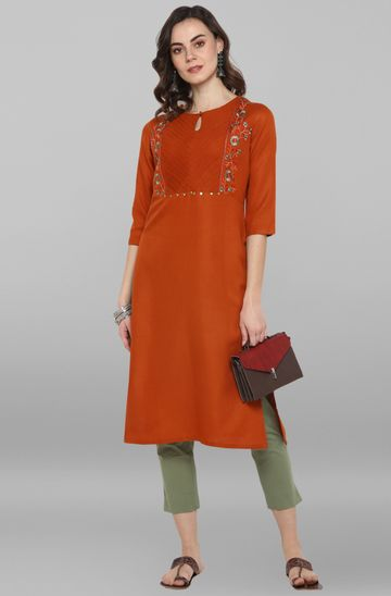 Janasya | Janasya Women's Rust Rayon Flex Kurta