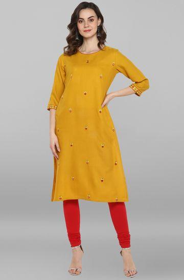 Janasya | Janasya Women's Mustard Rayon Flex Kurta