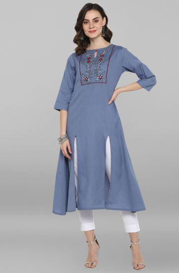 Janasya | Janasya Women's Light Blue Rayon Flex Kurta