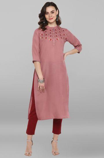 Janasya | Janasya Women's Pink Rayon Flex Kurta