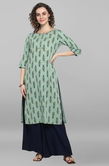 Janasya | Janasya Women's Light Green Rayon Slub Kurta With Palazzo