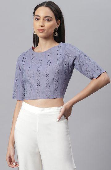 Janasya | Janasya Women's Blue Cotton Crop Top