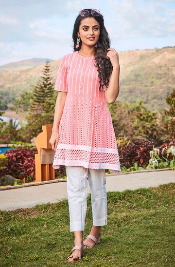 Janasya | Janasya Women's Pink Cotton Tunic