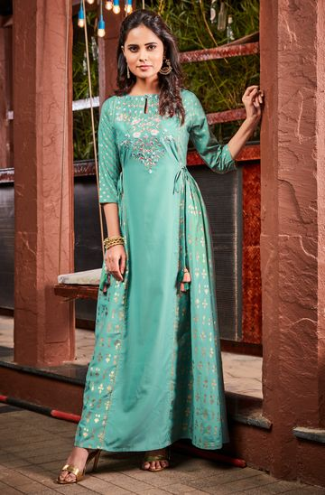Janasya | Janasya Women's Green Poly Muslin Ethnic Dress