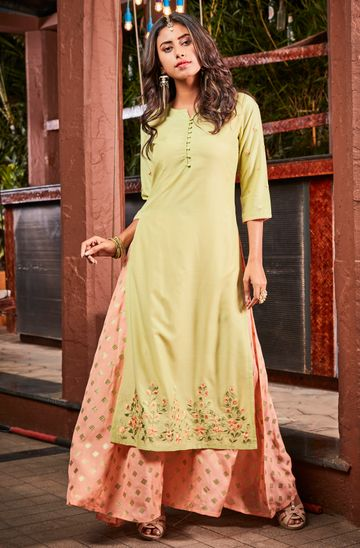 Janasya | Janasya Women's Light Green Poly Muslin Ethnic Dress