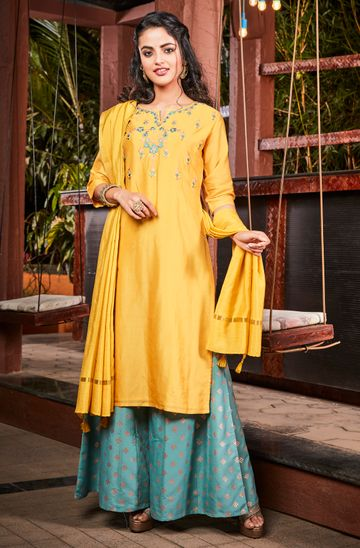 Janasya | Janasya Women's Yellow Poly Muslin Kurta With Palazzo and Dupatta