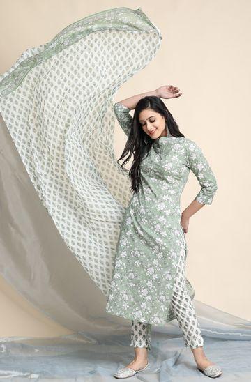 Janasya | Janasya Women's Light Green Cotton Kurta With Pant and Dupatta