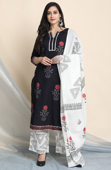 Janasya | Janasya Women's Black Cotton Kurta With Palazzo and Dupatta