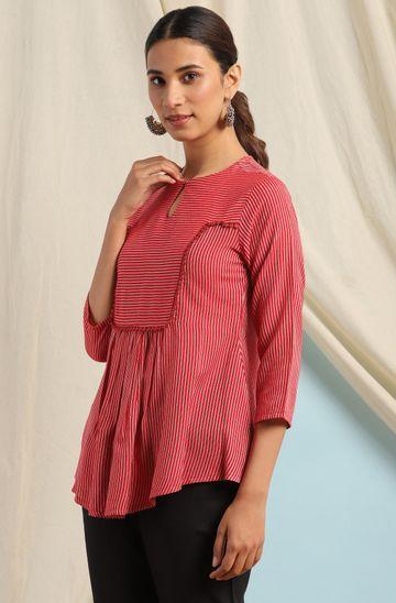 Janasya | Janasya Women's Red Rayon Top