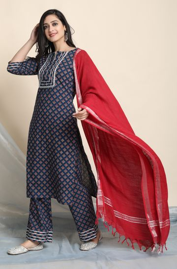 Janasya | Janasya Women's Blue Cotton Kurta With Palazzo and Dupatta