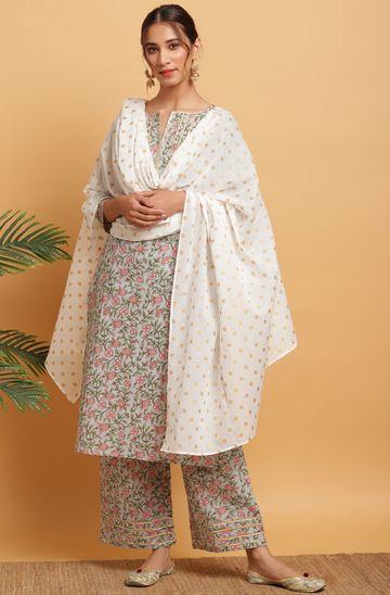 Janasya | Janasya Women's Multicolor Cotton Kurta With Palazzo and Dupatta