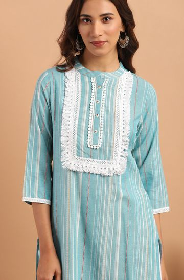 Janasya | Janasya Women's Green Cotton Blend Kurta With Palazzo