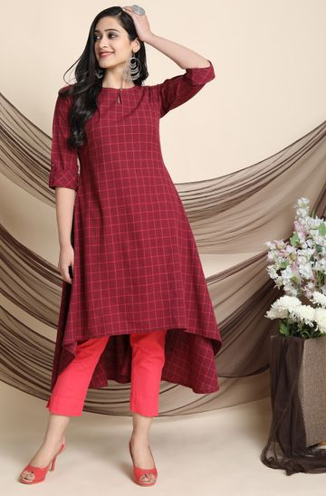 Janasya | Janasya Women's Maroon Cotton Kurta With Pocket