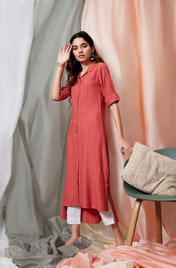 Janasya | Janasya Women's Orange Rayon Kurta With Pocket