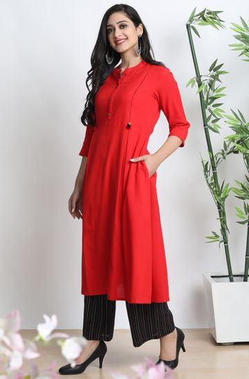 Janasya | Janasya Women's Red Cotton Flex Kurta With Palazzo
