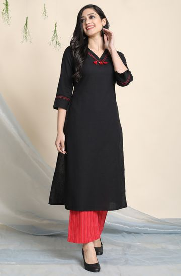 Janasya | Janasya Women's Black Cotton Flex Kurta With Palazzo
