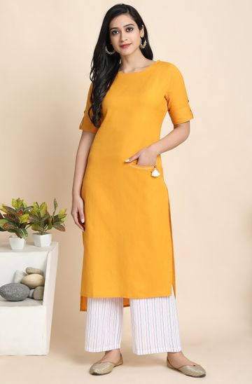 Janasya | Janasya Women's Mustard Cotton Flex Kurta With Palazzo