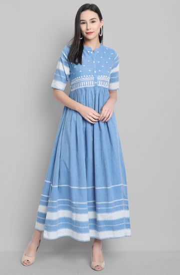 Janasya | Janasya Women's Blue Cotton Western Dress