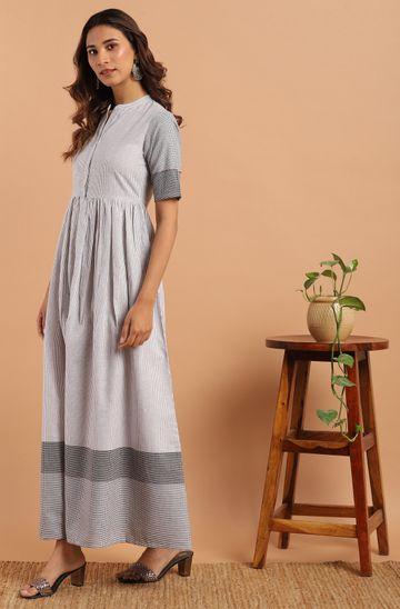 Janasya | Janasya Women's White Cotton Western Dress With Pocket