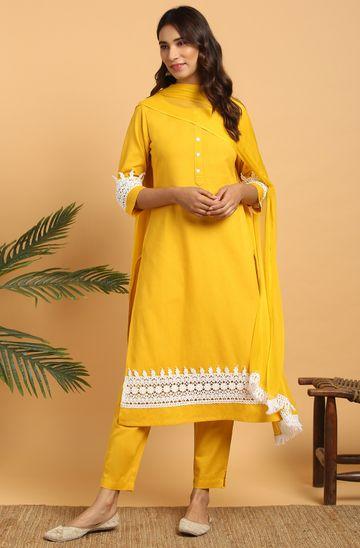 Janasya | Janasya Women's Mustard Cotton Flex Kurta With Pant and Dupatta