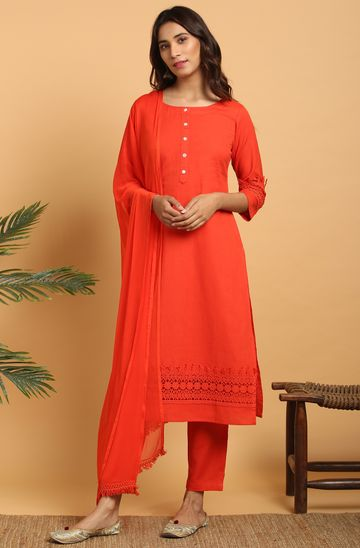 Janasya | Janasya Women's Red Cotton Flex Kurta With Pant and Dupatta