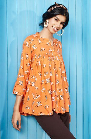 Janasya | Janasya Women's Orange Rayon Top
