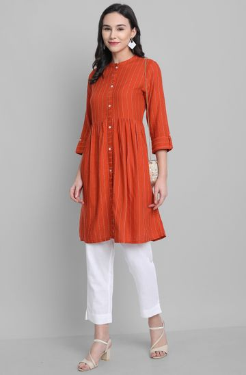Janasya | Janasya Women's Orange Rayon Kurti