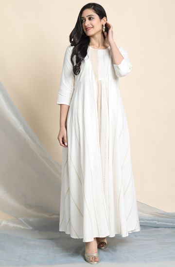 Janasya | Janasya Women's Off White Cotton Ethnic Dress