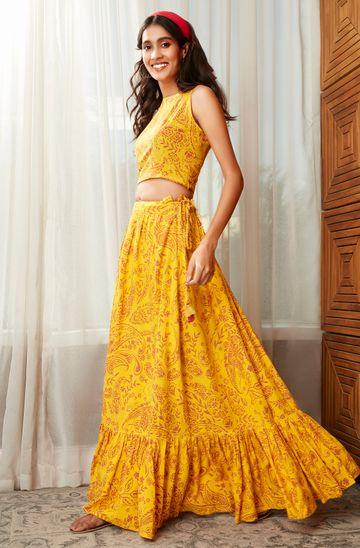 Janasya | Janasya Women's Mustard Rayon Crop Top With Skirt