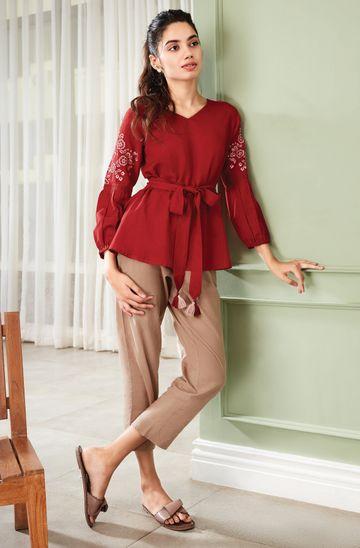Janasya | Janasya Women's Maroon Cotton Flex Top