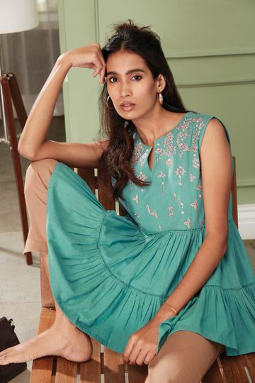 Janasya | Janasya Women's Green Cotton Flex Top