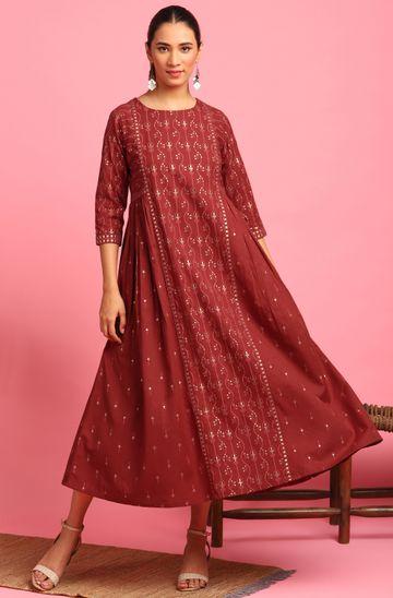 Janasya   Janasya Women's Maroon Cotton Flex Ethnic Dress