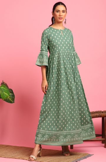 Janasya   Janasya Women's Green Cotton Flex Ethnic Dress