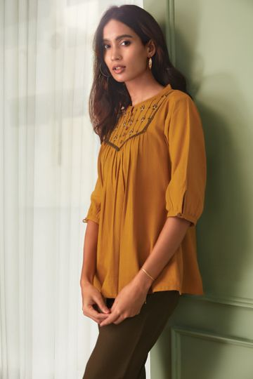 Janasya | Janasya Women's Mustard Cotton Flex Top