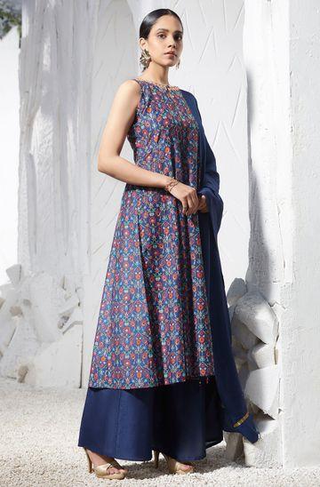 Janasya | Janasya Women's Blue Poly Muslin Kurta With Palazzo and Dupatta