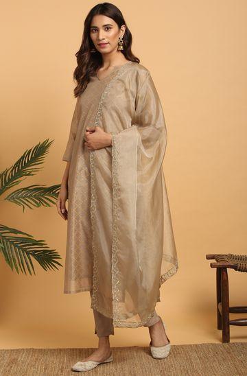Janasya | Janasya Women's Light Brown Poly Chanderi Kurta With Pant and Dupatta
