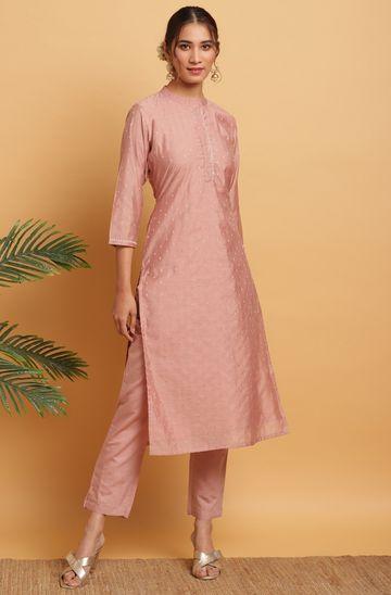 Janasya | Janasya Women's Pink Poly Muslin Kurta With Pant