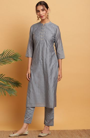Janasya | Janasya Women's Grey Poly Muslin Kurta With Pant