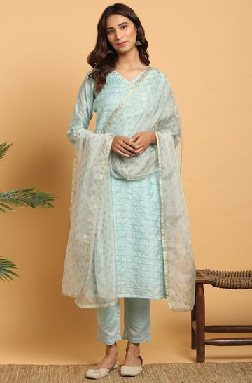 Janasya | Janasya Women's Sky Blue Art Silk Kurta With Pant and Dupatta