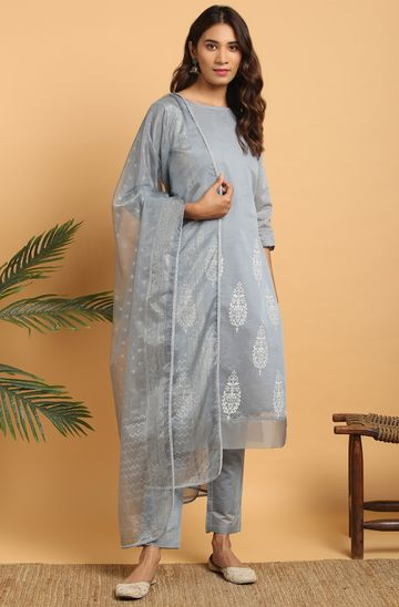 Janasya | Janasya Women's Grey Poly Chanderi Kurta With Pant and Dupatta