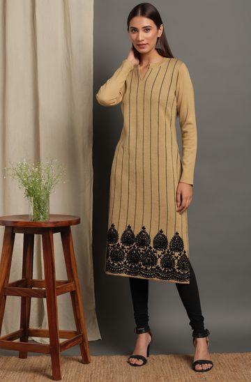 Janasya | Janasya Women's Beige Woolen Kurta
