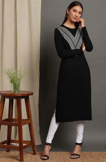 Janasya | Janasya Women's Black Woolen Kurta