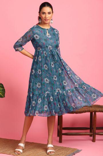 Janasya | Janasya Women's Blue Poly Georgette Western Dress