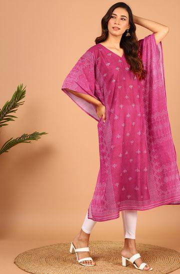Janasya | Janasya Women's Pink Poly Georgette Kaftan